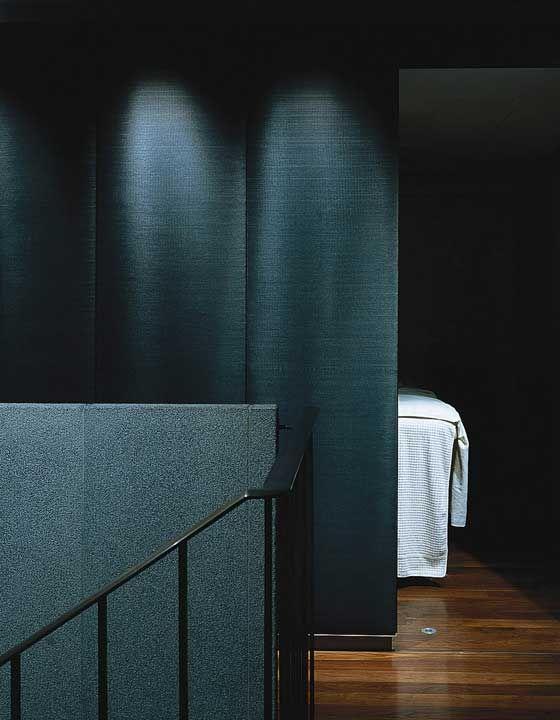 Horsehair fabric upholstered wall panels at the Mandarin Hotel