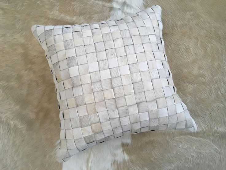 """Fantastic 20"""" hand made basketweave real hair on cowhide pillow cover in natural white - FREE SHIPPING in USA and Canada Hygge Scandi modern http://etsy.me/2op5u9L #housewares #homedecor #white #housewarming #entryway #gauchocollection #cowhide #western #cushion"""