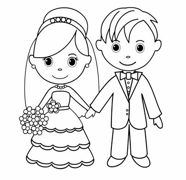Bride And Groom Line Art Drawing Page Wedding Coloring Pages Coloring Pages Wedding With Kids