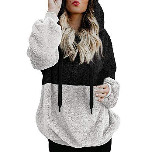 42984cf32f6 Lazzboy Womens Sweatshirt Hoodie Long Sleeve Warm-up Faux Fur Zipper Pocket  Fleece Hooded Oversized Plus Size (L(12)