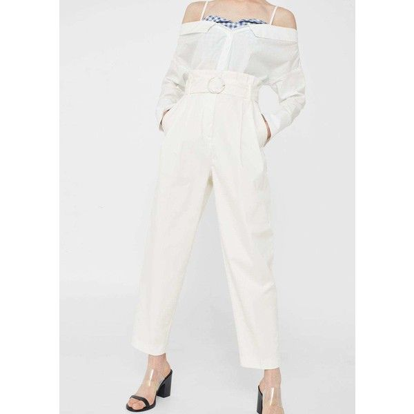 MANGO High-waist trousers ($80) ❤ liked on Polyvore featuring pants, high rise trousers, highwaist pants, zipper trousers, cotton pants and mango pants