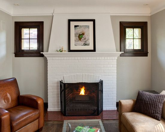 Contemporary Living Room with Modern White Brick Fireplace   For the Home    Pinterest   Brick fireplace. Contemporary Living Room with Modern White Brick Fireplace   For