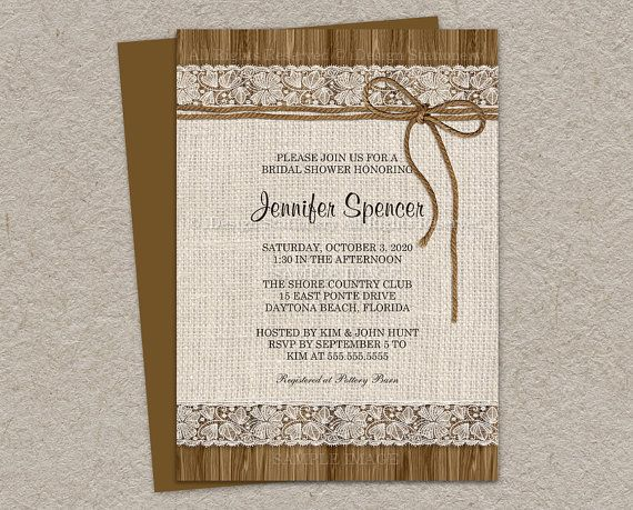Rustic Bridal Shower Invitation Burlap By Idesignstationery 1295
