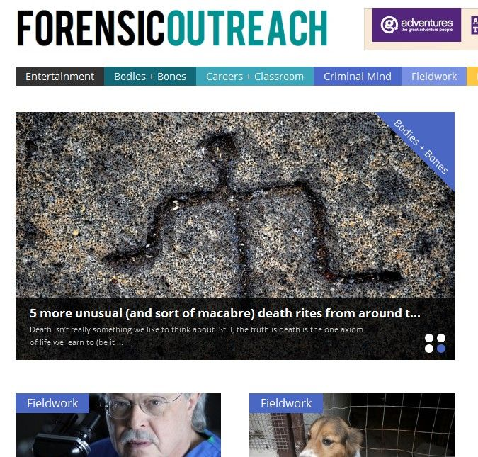 Screenshot of Forensic Outreach website