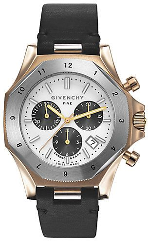 Givenchy five rose gold plated stainless steel chronograph watch men 39 s watches pinterest for Givenchy watches
