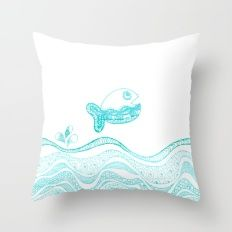Doodle fish jumping out of the water- pattern Throw Pillow