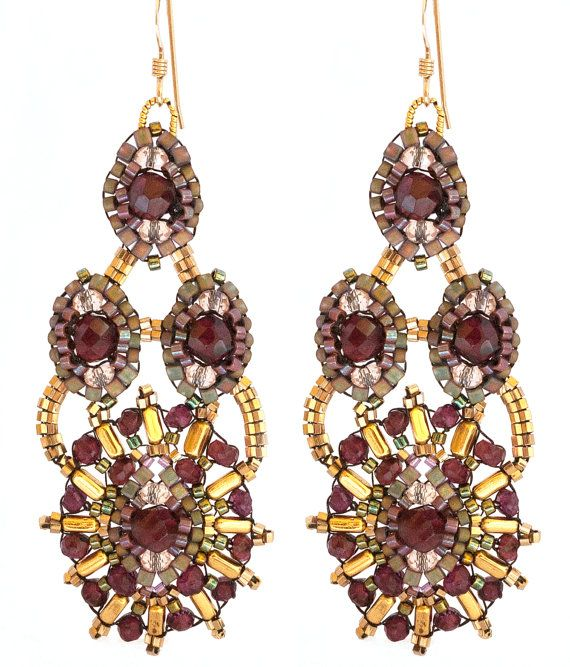 Garnet and Gold Fill Dangle Earrings Beaded by Esther Marker