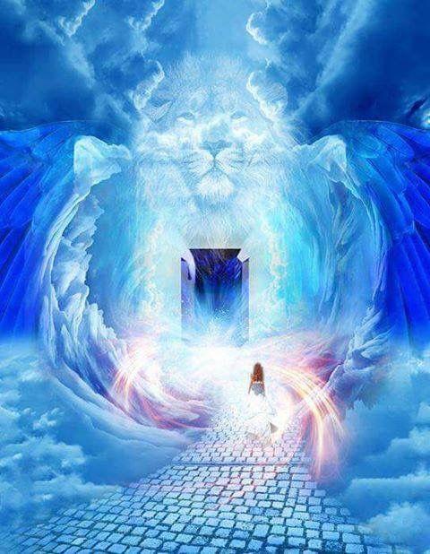 Lion of Judah and an open door, lady, prophetic art Bride of Christ.