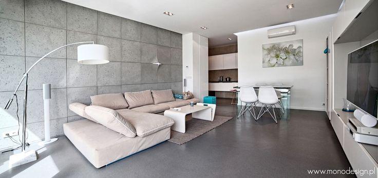 Piękny minimalistyczny salon Słoneczny Gródek 72 - wynajem noclegów