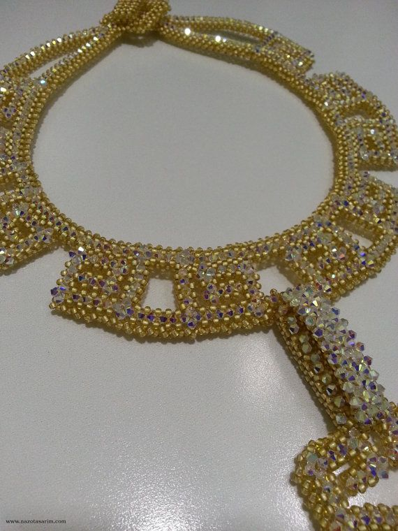 Necklace  Beaded Necklace  White Crystal Necklace  by NazoDesign, $225.00