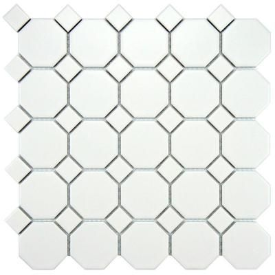 bathroom with octagonal floor and semi-gloss wall tile   ... White Dot 11-1/2 in. x 11-1/2 in. Porcelain Mosaic Floor and Wall Tile