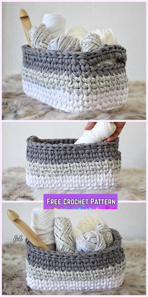 Crochet Ombre Rectangle Basket Free Patterns