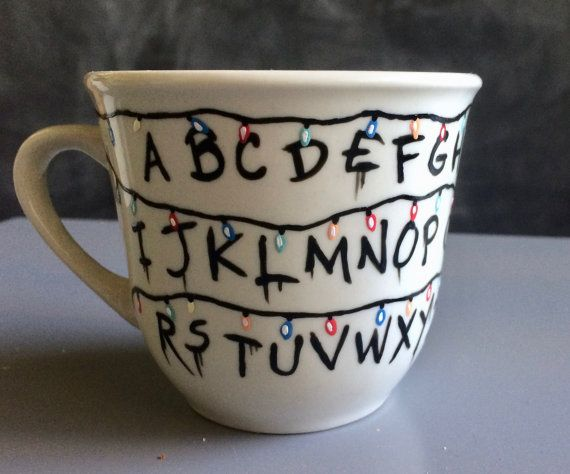 Stranger Things Christmas Lights Tea Cup by ClarityArtwork on Etsy
