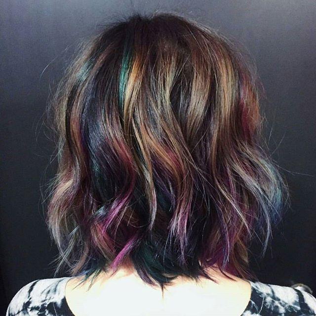 "Trending ""Oil Slick color""... by @hairbykotay using @pravana #oilslickhair #jeweltonehair #behindthechair"