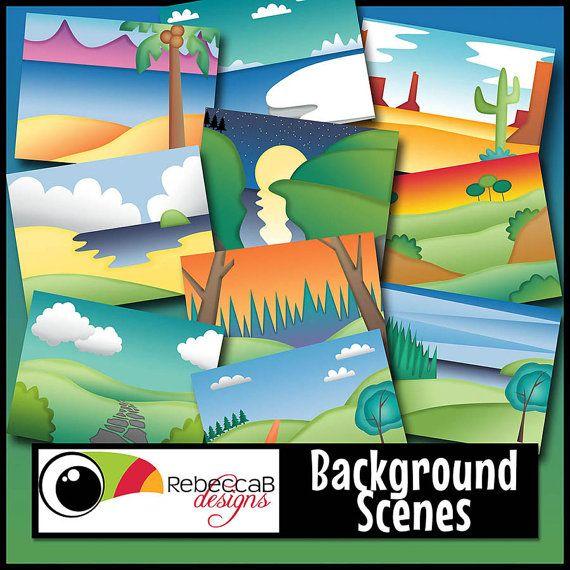 Landscape Clipart Background Scenes Clip Art by RebeccaBDesignShop