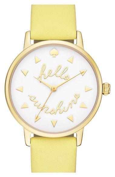 kate spade new york 'metro - sunshine' leather strap watch, 34mm