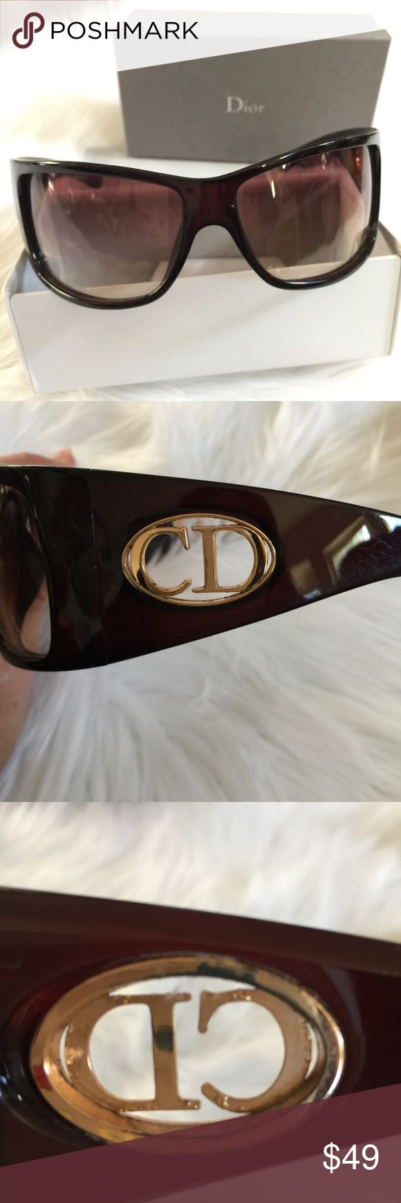 Christian Dior Brown Shield Sunglasses Gently used Authentic Christian Dior Brown Shoeld Sunglasses. Minor Scratches from normal use. Please note pictures for more details. Christian Dior Accessories Sunglasses