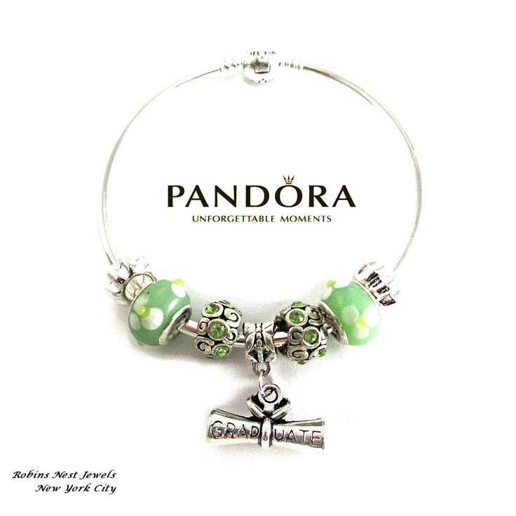 Authentic Pandora Graduation Bracelet, Pandora Bangle Bracelet, Graduation Charm, Sterling Silver,Non Branded Charms,Graduate Charm, GRADG by RobinsNestJewels on Etsy