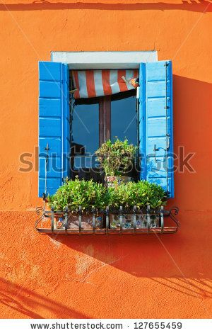 Southwest Blue And Orange Houses Exterior Blue Window