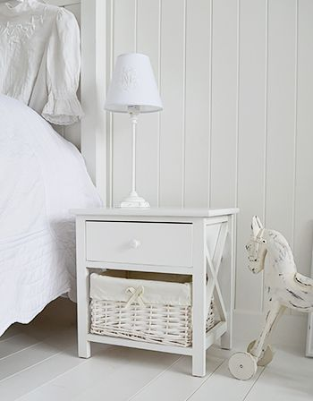 The White Lighthouse Bedroom Furniture. White Bedside Table With Two Basket  Drawers And Simple Knob Handled Drawer