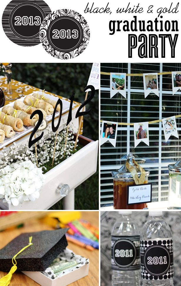 water bottles must do. graduation party ideas in black, white and gold | thecelebrationshoppe.com