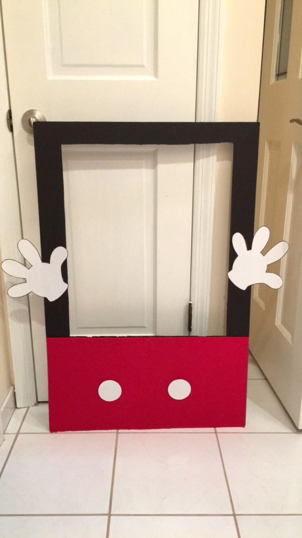 DIY Mickey Mouse Photo Frame Prop poster board, glue gun ...