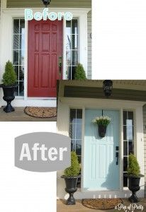 Turquoise Front Door - Before & After | AKA curb appeal for Mr. Sanders! | LFF Designs | www.facebook.com/LFFdesigns