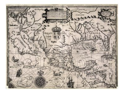 Map of 1600 Spanish florida and cuba