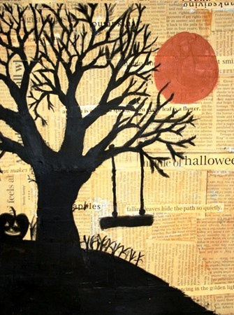 LOVE This looks like my highschool 3D AirBrush Project... too funny.  in tree silhouettes on newspaper, love the newspaper background