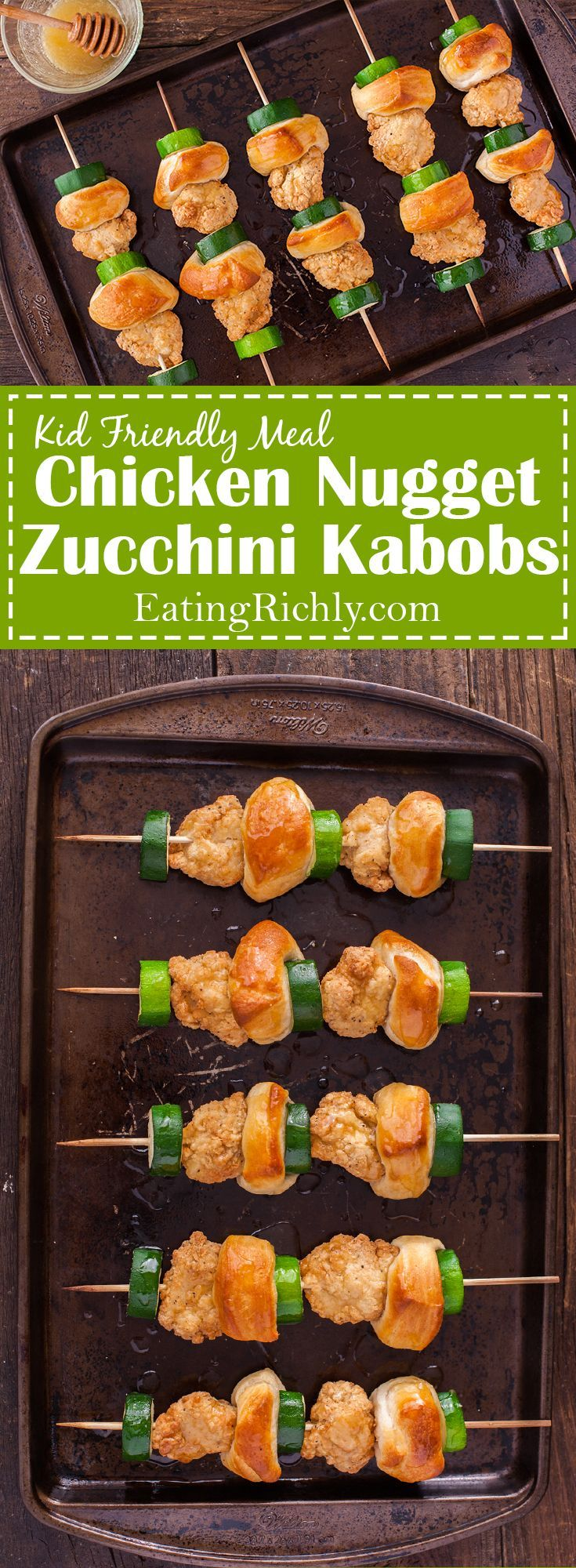 These zucchini, biscuit, and chicken nugget kabobs are a kid friendly meal that your little ones will love to help make. Part of #MiniChefMondays on EatingRichly.com
