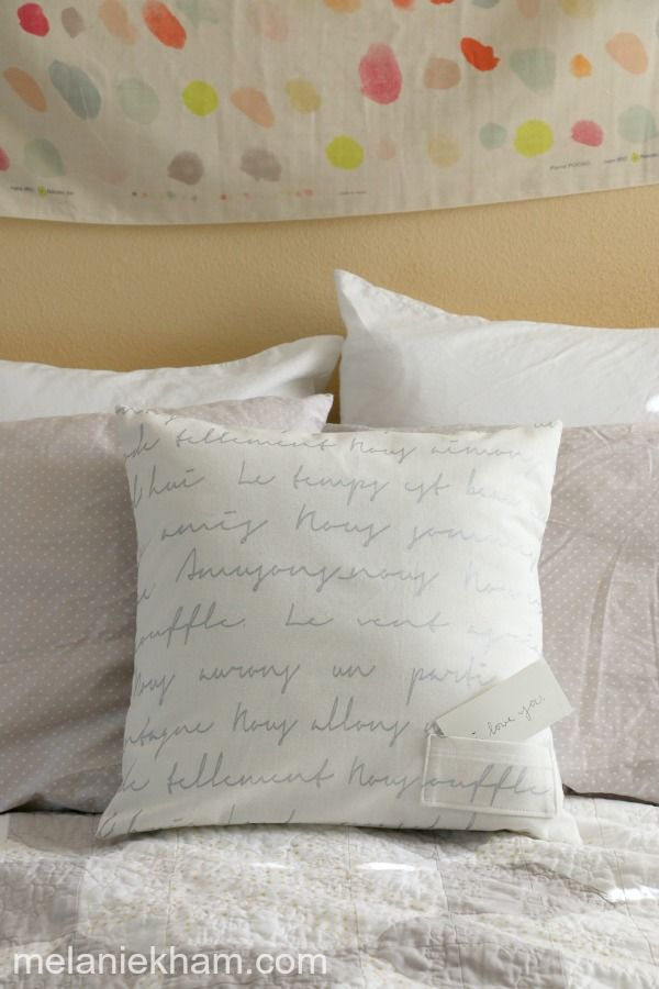 Love note envelope pillow cover tutorial with hand
