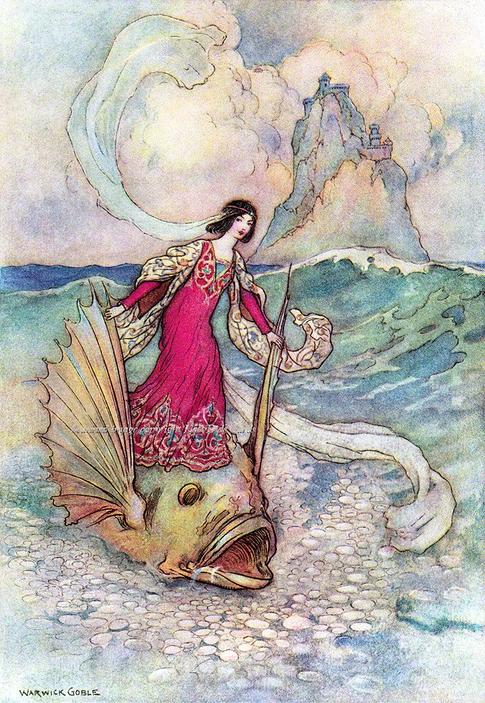 Rita Riding on the Dolphin Reproduction Greeting Card - from a Warwick Goble Illustration. In my #Etsy store today.