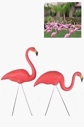 2 x Pink Flamingo Garden & Lawn Ornament Wedding Ceremony Decor