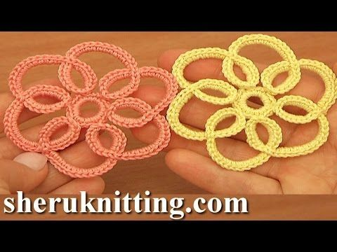 How to Crochet Simple Flat Flower Tutorial 100 - YouTube