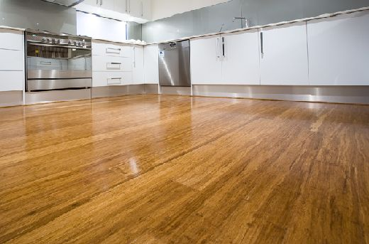 bamboo flooring, white kitchen