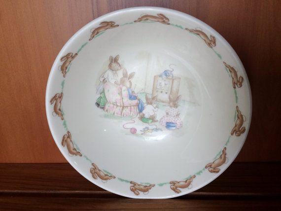 Royal Doulton Bunnykins Tableware. Bunnykins Cereal Bowl. Bunnykins Soup or Dessert Bowl. Collectible 1984 Golden Jubilee Bowl VCH0108
