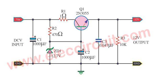 Small Zener Diode Voltage Regulator Circuit With Pcb Eleccircuit Com Voltage Regulator Electronic Schematics Simple Circuit