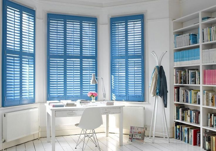 Home Office With Blue Window Shutters And White Furniture : Stylish Interior Window Shutters