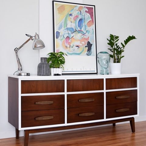 9 drawer Mid Century dresser in @benjaminmoore high gloss Advance and @generalfinishes Java gel stain
