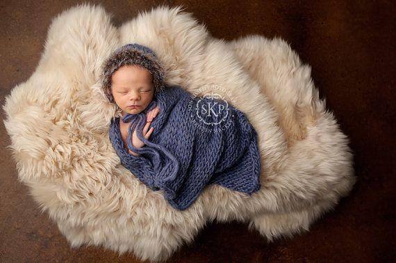 eskimo set  blanket & bonnet photo prop by LittleRaritiesStudio