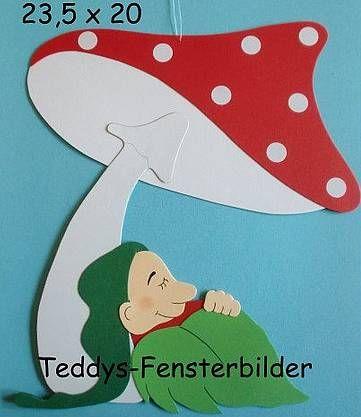 Fensterbilder 552 ´ Wichtel unterm Pilz ` Tonkarton kaufen bei Hood.de