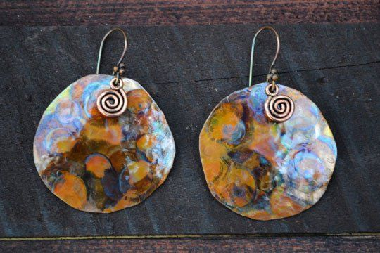 Round Heated Copper Earrings