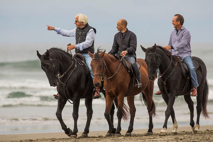 And then this happened at #BC17. Legends Bob Baffert, Mike Smith, and Jerry Bailey went for a ride on the beach. Be sure to watch @nbc and @nbcsports #BreedersCup Friday and Saturday to see the full story.