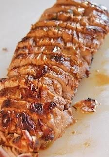 Pork Tenderloin marinated in olive oil, soy sauce, red wine vinegar, lemon juice, Worcestershire sauce, parsley, dry mustard, pepper and garlic - Joybx