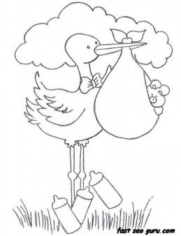 Printable Baby Boy In A Stork Bundle Coloring Pages For Childrens