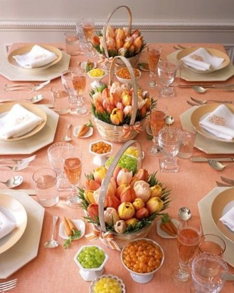 Decoration, Bright Color Decor For Dining Room Table Spring Table Decorating Ideas: Stylish Centerpieces Spring Table Decorations