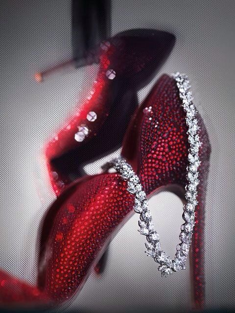 438b0abb2f VALENTINO Embellished Red Pumps and HARRY WINSTON Platinum and Diamond  Cluster Necklace