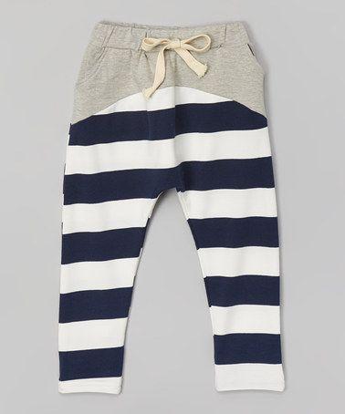 Another great find on #zulily! Gray & Navy Stripe Harem Pants - Infant, Toddler & Kids #zulilyfinds
