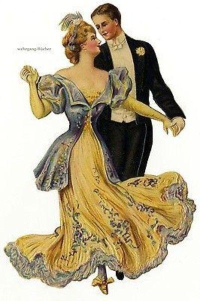 Vintage Victorian die cut paper scrap, Dancing Couple, c. 1901 (04/12/2014)