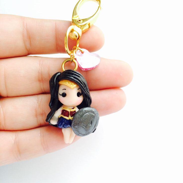 Wonder Woman DC comics Batman v vs Superman Gal Gaddot Polymer Clay Keychain Necklace dawn of justice by MintFoxBoutique on Etsy https://www.etsy.com/listing/272871520/wonder-woman-dc-comics-batman-v-vs
